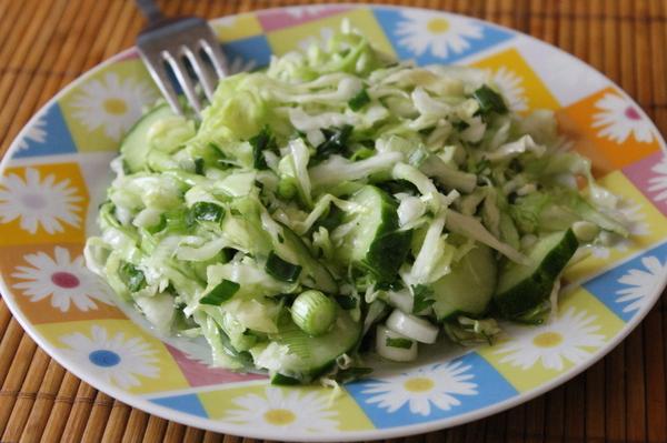 Салат из капусты и огурцов рецепт с