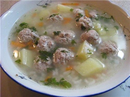 Рисовый суп с фрикадельками рецепт