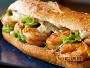 Острый сэндвич с креветками