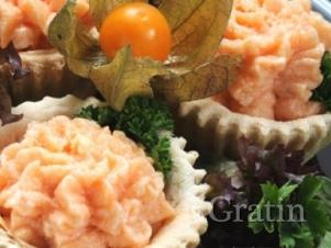 Тарталетки с креветочно-лососевым муссом