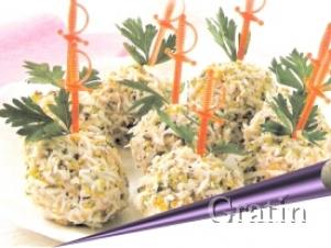 Шарики лососёвые с соусом тартар