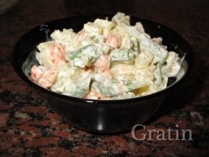 Овощной салат со спаржевой фасолью (Вегетарианский оливье)