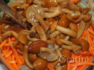 Салат с корейской морковкой и грибочками