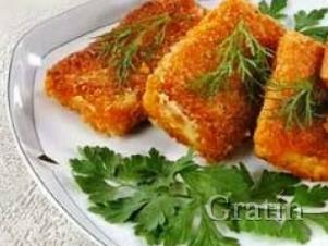 Жареный сыр с горчицей и петрушкой
